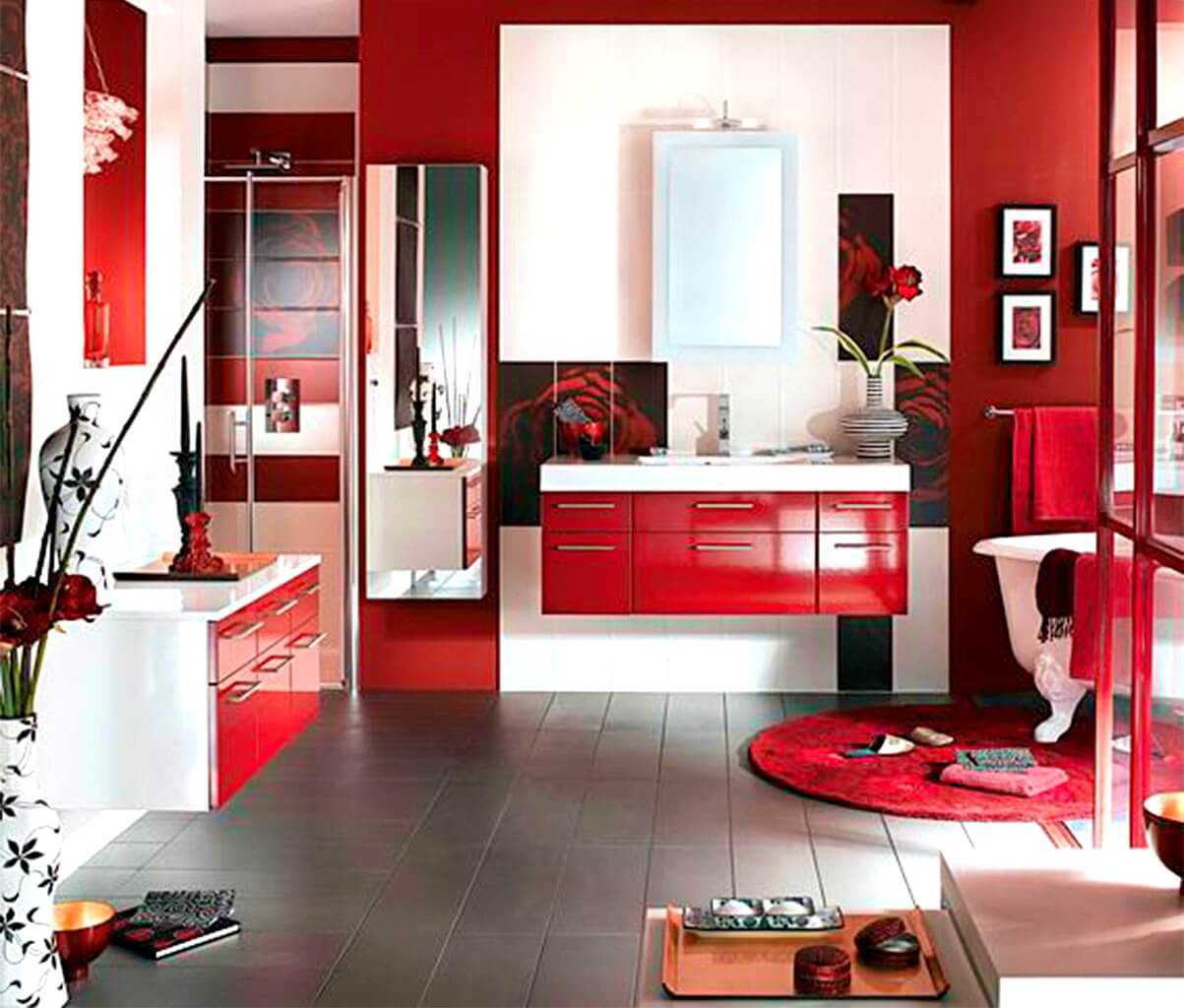 Rika röda badrum