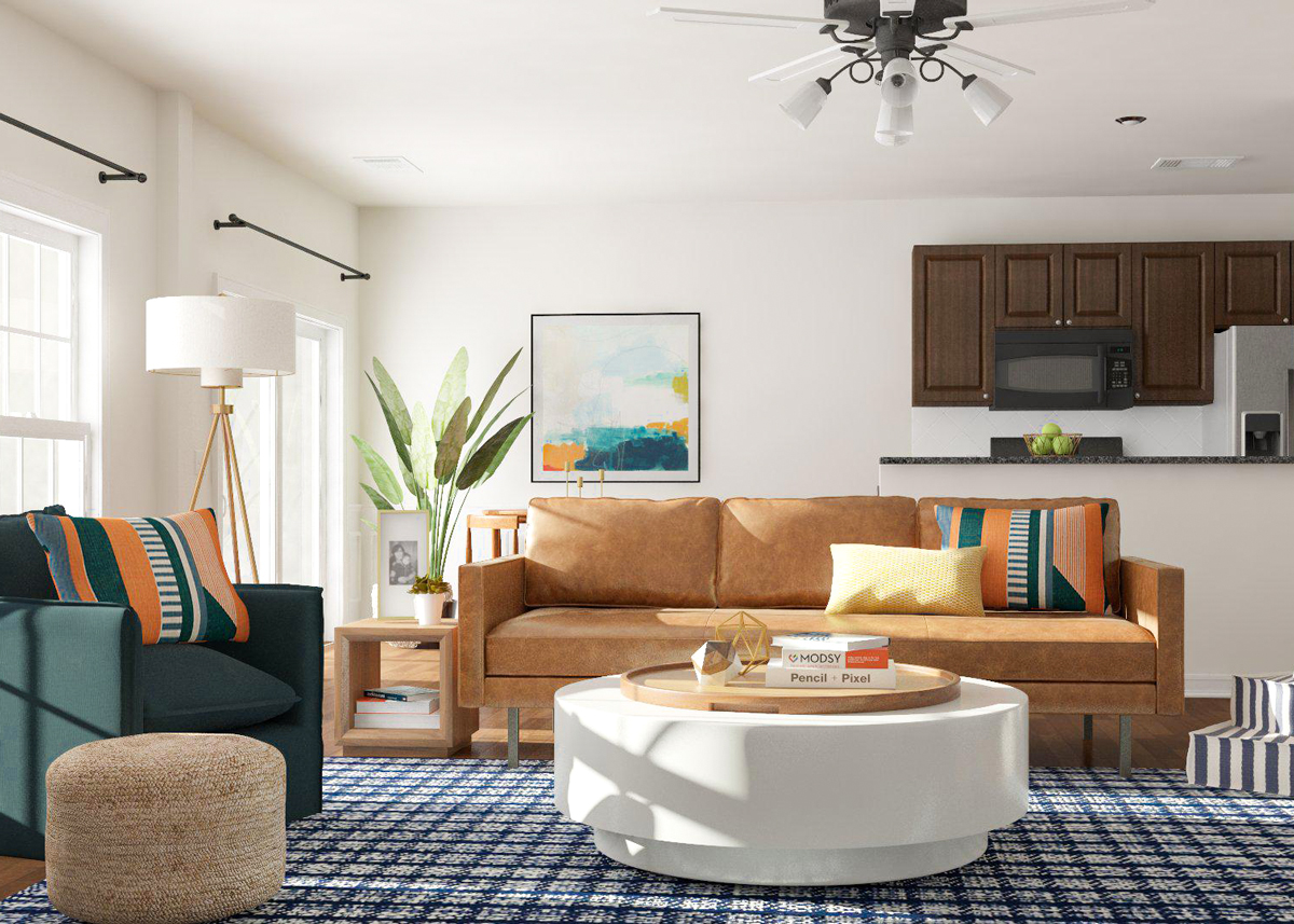 Vardagsrum med rundade möbler.  Källa: Modsy Blog