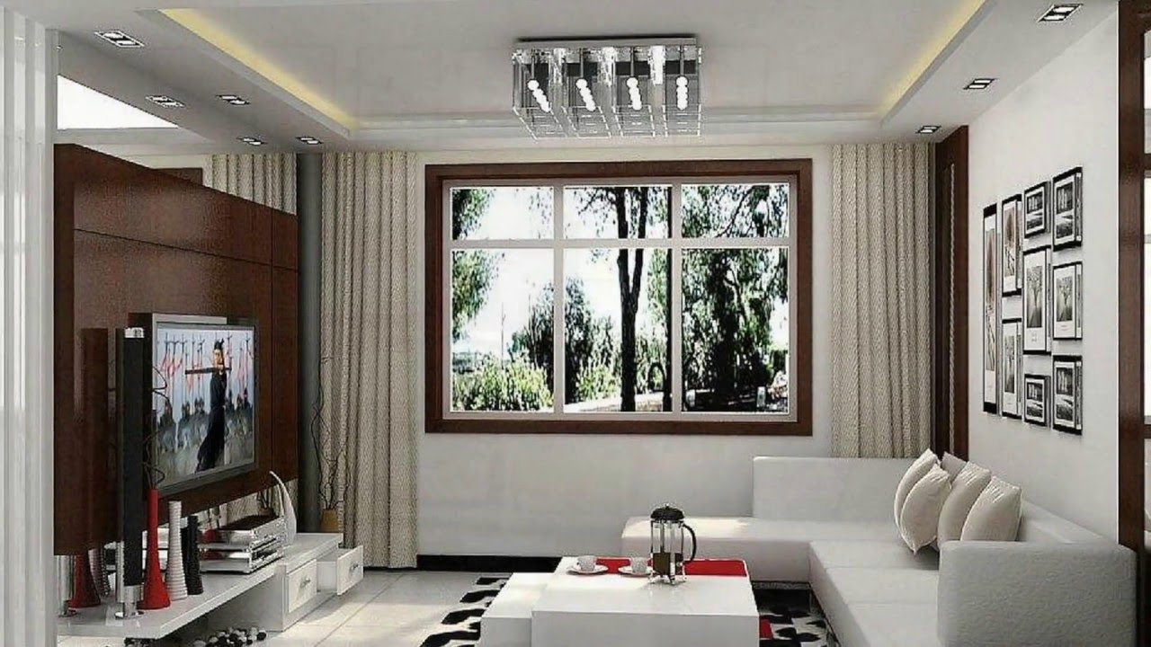 Långt vardagsrum med möbler från fönstret.  Källa: YouTube.com