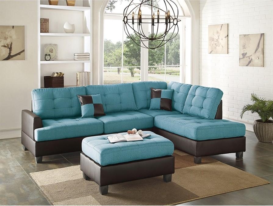Casual blågrönt och brunt vardagsrum