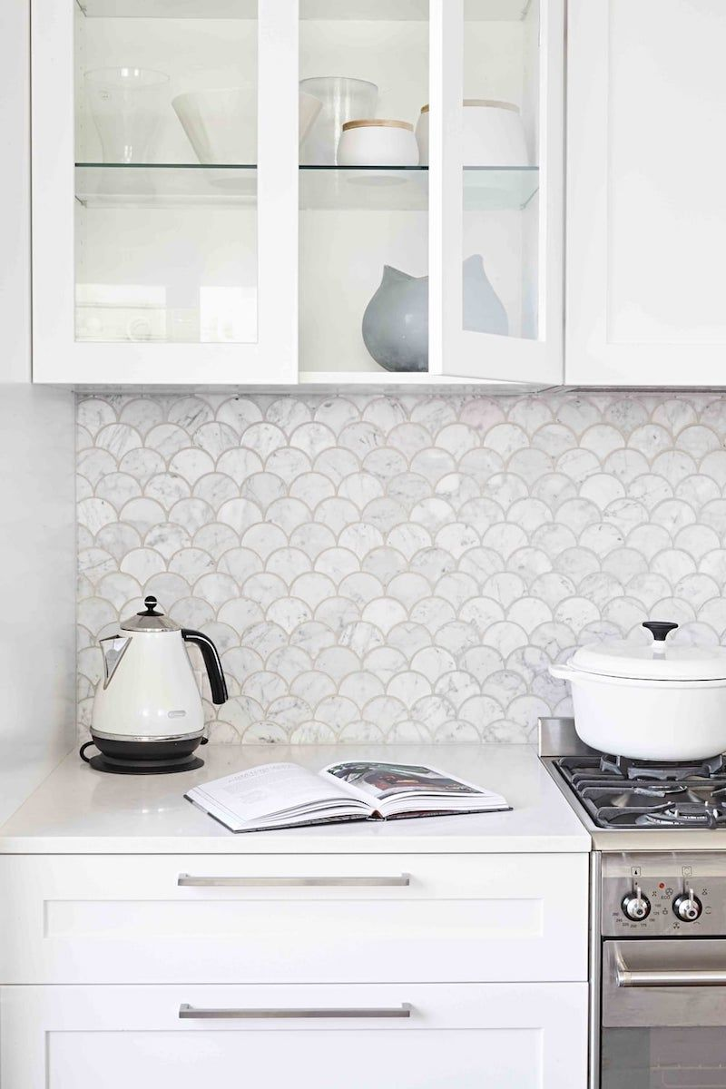 Söt marmor kök backsplash