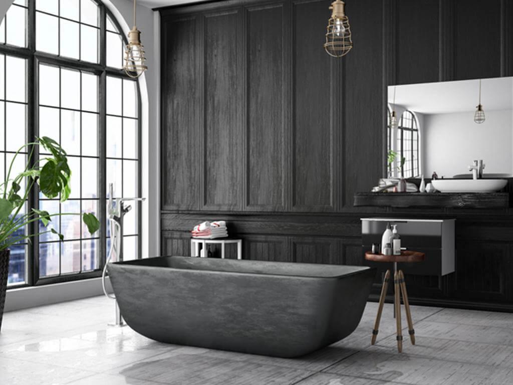 Mysigt svart badrum