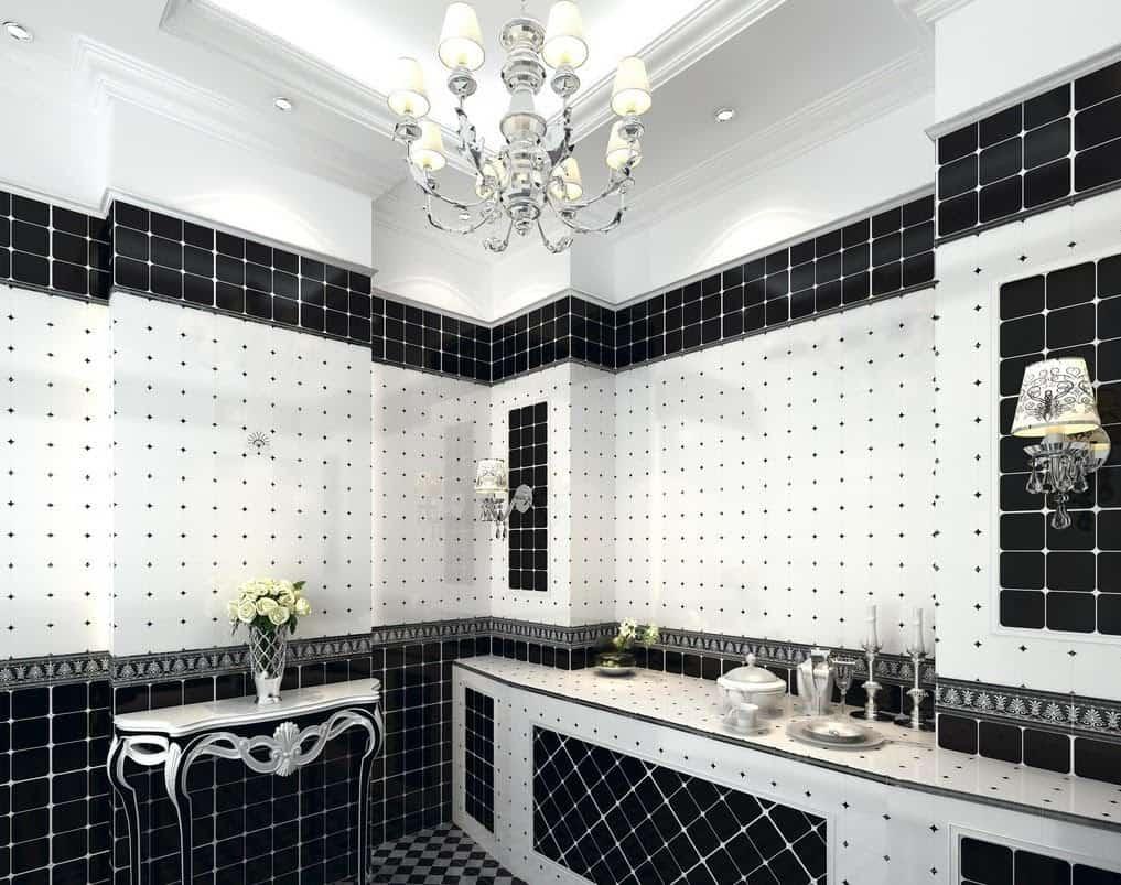 Trevligt svart badrum