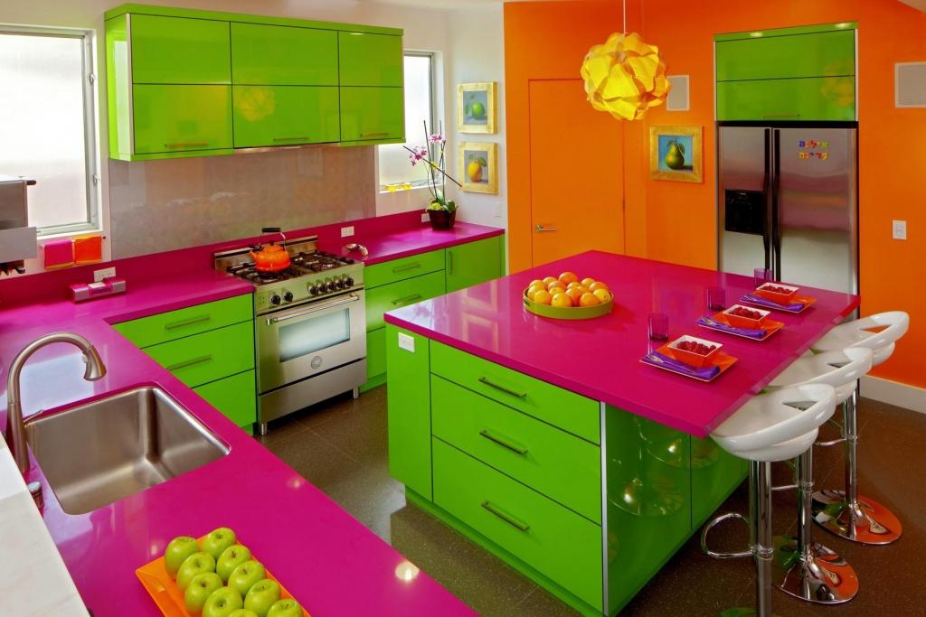 Mousserande färgglatt kök