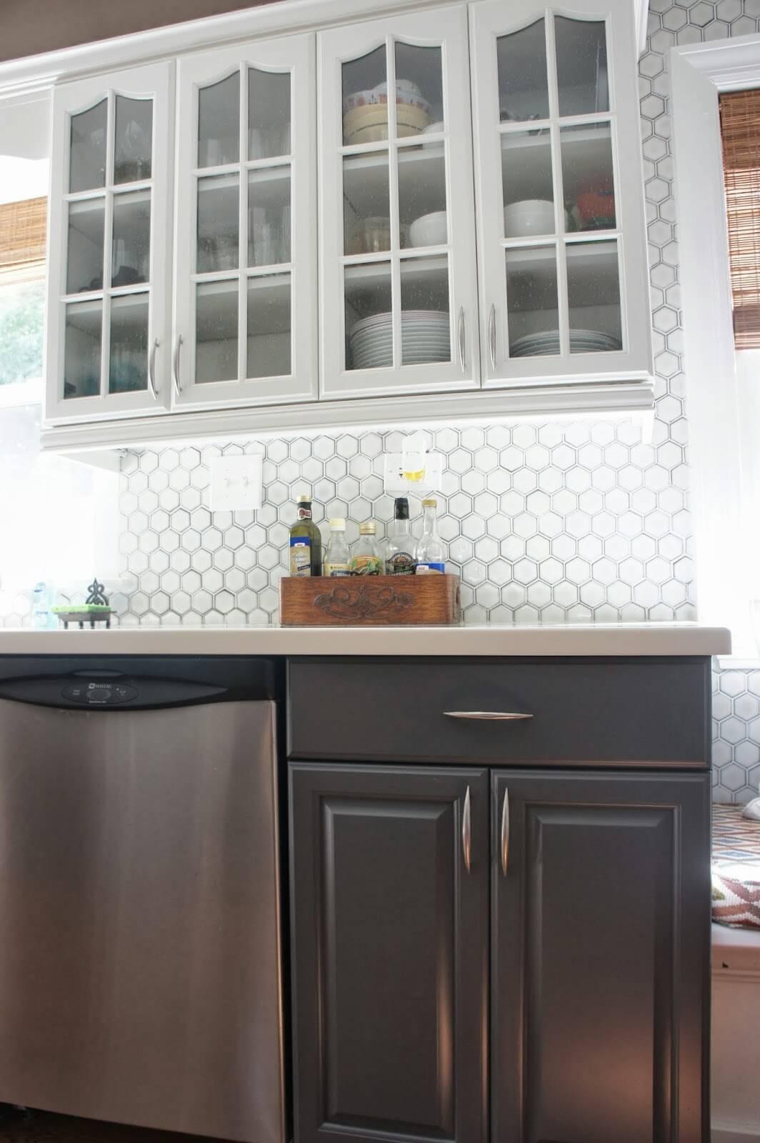 Hexagon glasplattor kök backsplash