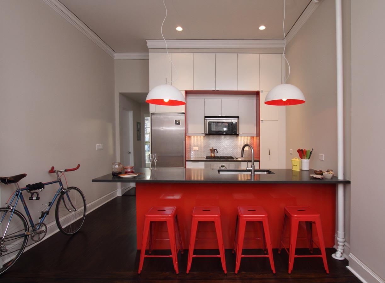 Trevligt rött kök
