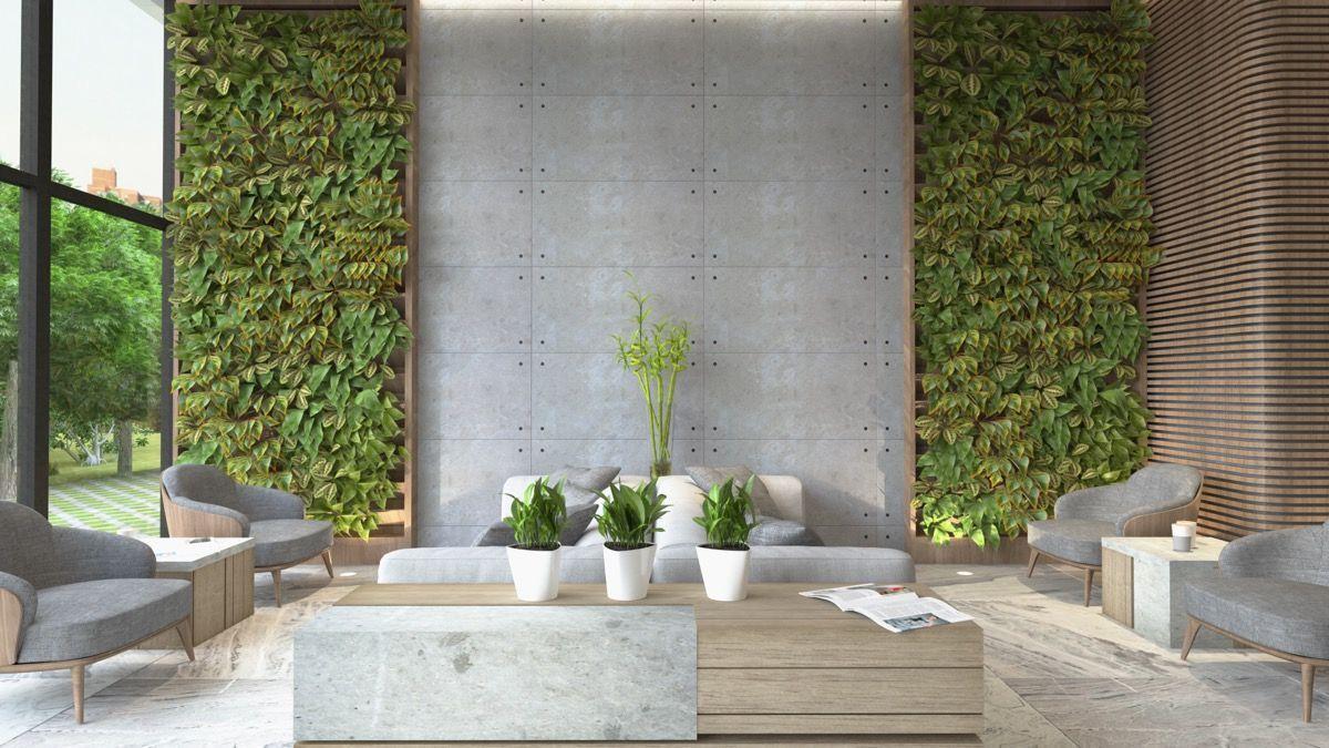 Naturligt grått och grönt vardagsrum