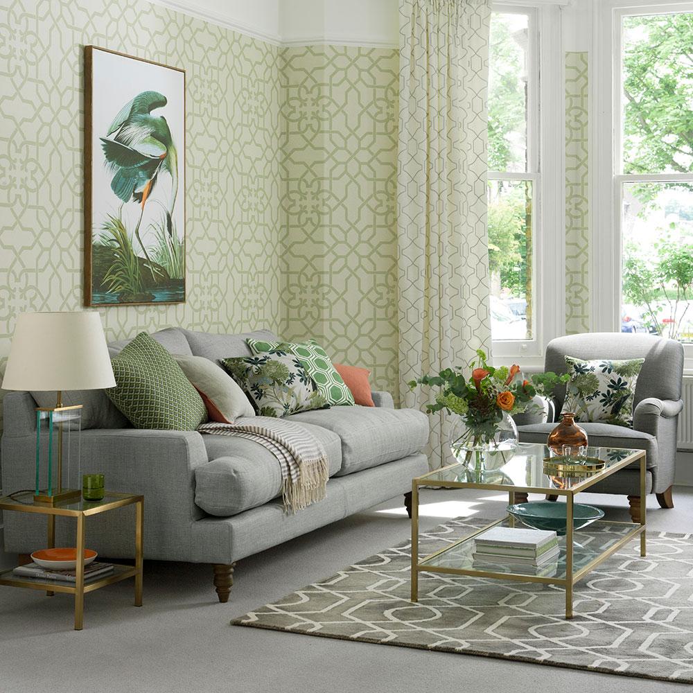 Eleganta grå och gröna vardagsrumsidéer