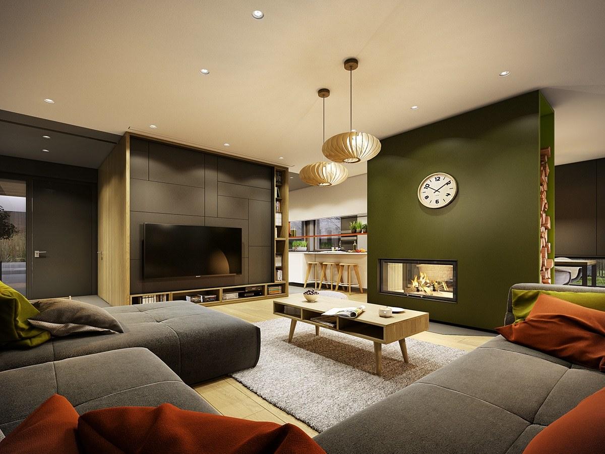 Avkopplande grått och grönt vardagsrum