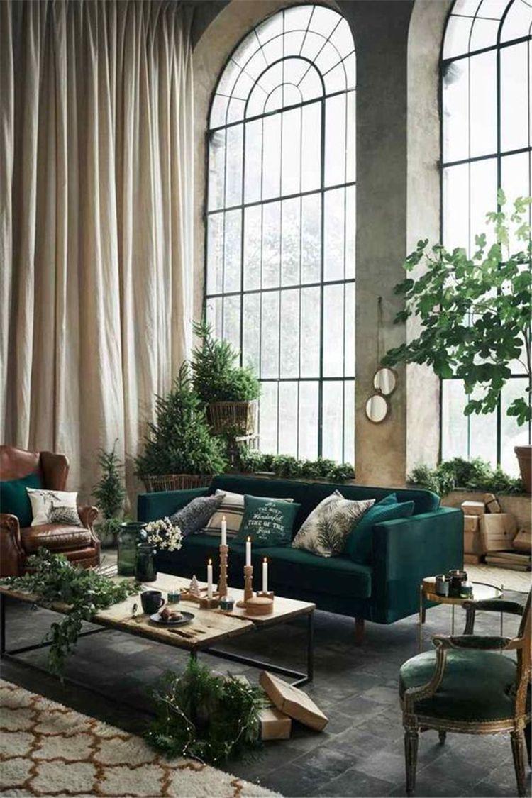 Nytt grått och grönt vardagsrum