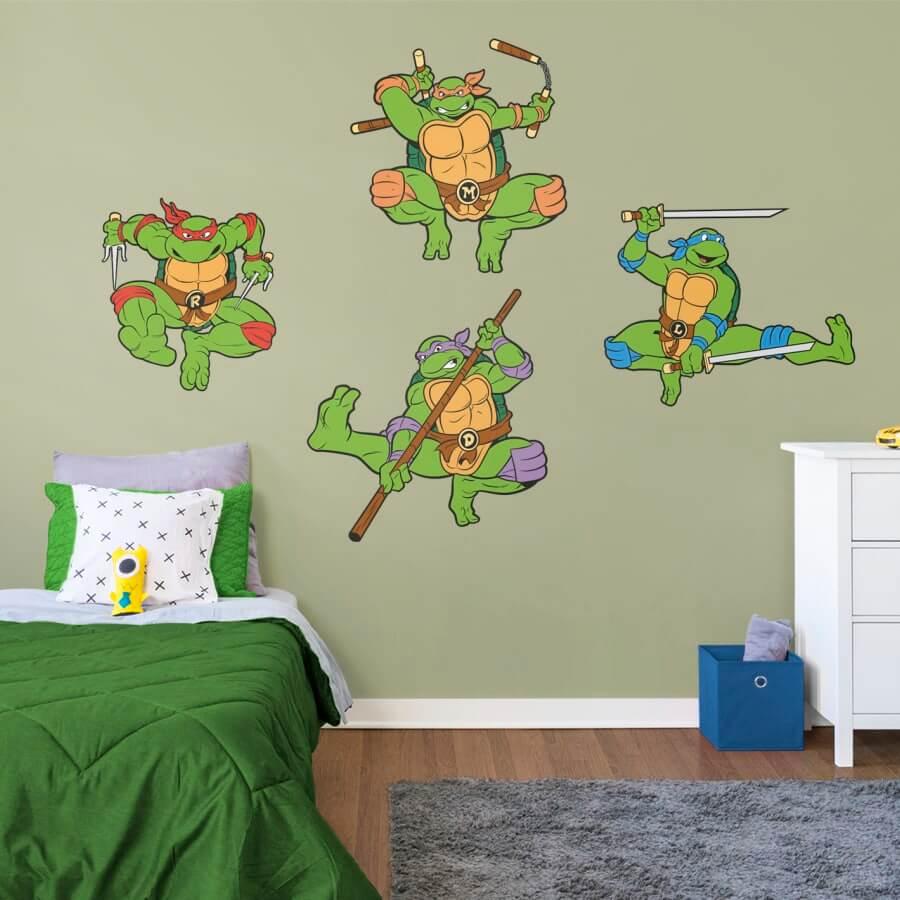 Bekvämt sovrum med Ninja Turtles