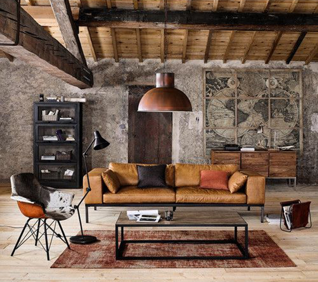 Industriellt vardagsrum med träbaserade material.  Källa: 2minuteswith.com