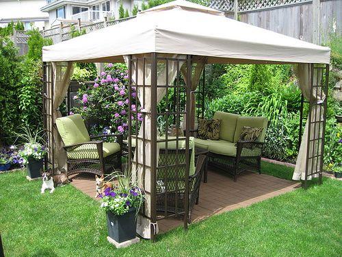 Cool-Backyard-Ideas-with-Gazebo |  Trädgårdslusthus, liten bakgård.