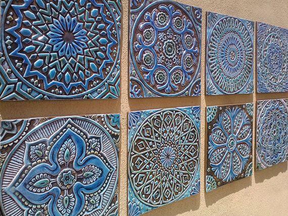 Marockansk inredning, Set med 4 marockanska plattor, marockansk väggkonst.