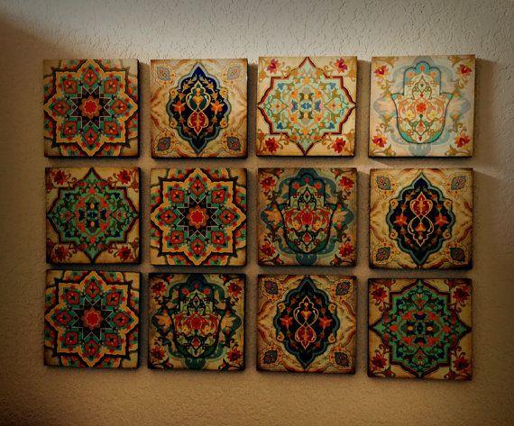 Hamsa Hand Marockansk Wall Art Set Wall Blocks 8x8 Set of av Ajobe