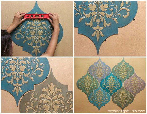 Hur man stencil: marockanska drömmar Wall Art träformar  Marockansk.