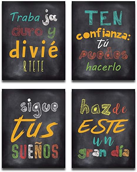 "Amazon.com: HPNIUB Spanish Wall Art Prints, Set of 4 (8 ""X10."