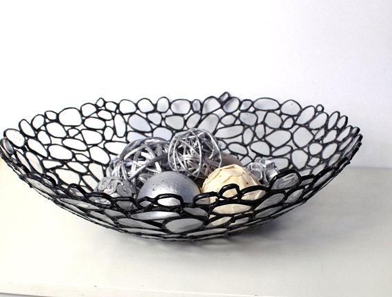Samtida dekorativ glasskål - Handgjordt målat glas - Hem.