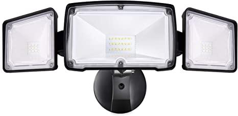 3-huvud-LED-säkerhetslampor utomhus, 30W 3500LM 5000k, IP65.