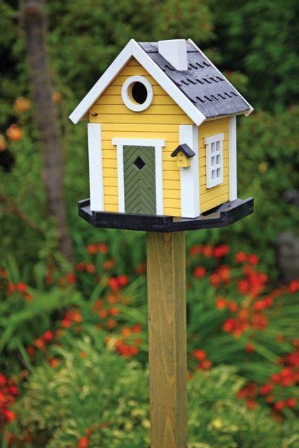 Tre idéer för att dekorera din trädgård |  Fågelhus målade, fågel.