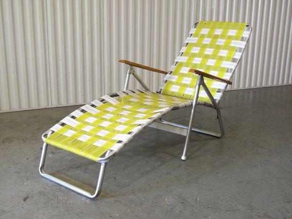 1960-talet Webbed Lawn Chair Folding Beach Chair Lounge |  Etsy.
