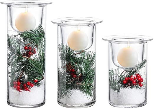 Amazon.com: Hela hushållsartiklar glas orkanstearinljus med.