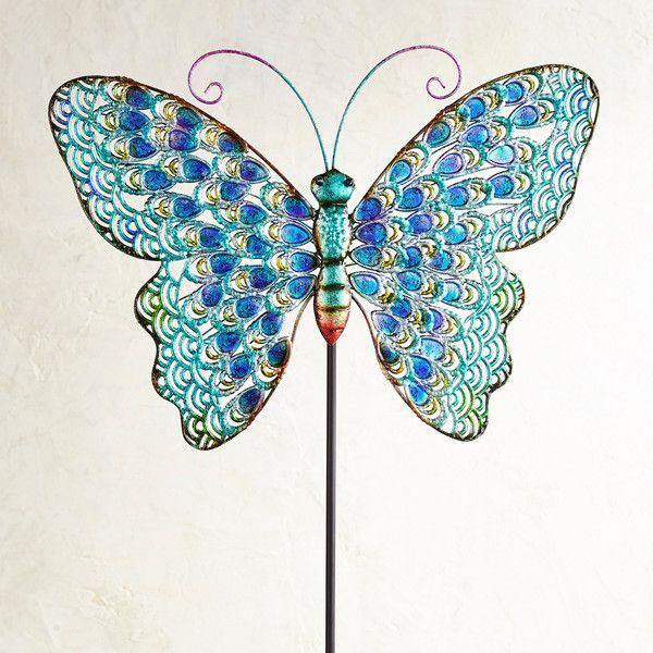 Pier 1 Importerar Big Butterfly Metal Garden Stake ($ 40) ❤ gillade.