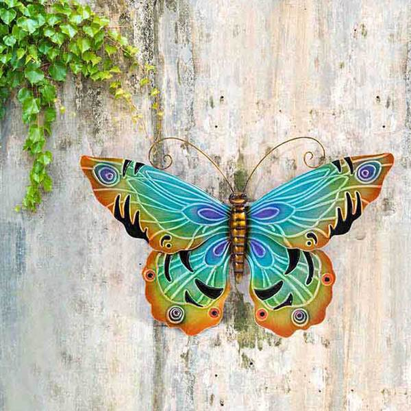 Handla Sunjoy 22-tums blå fjäril handmålat järn utomhusvägg.