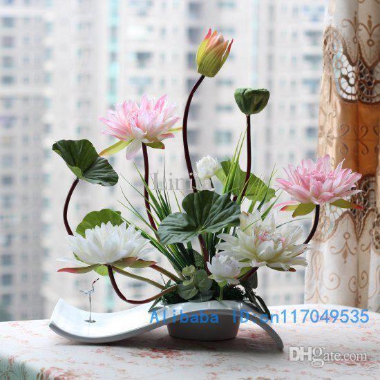 Blomsterarrangemang Ikebana arrangerad konstgjord Lotus Flower Silk.