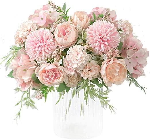 Amazon.com: KIRIFLY konstgjorda blommor, falska pionens silkehortensia.