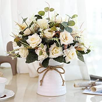Amazon.com: YILIYAJIA Konstgjorda blommor i vas sidenrosa blomma.