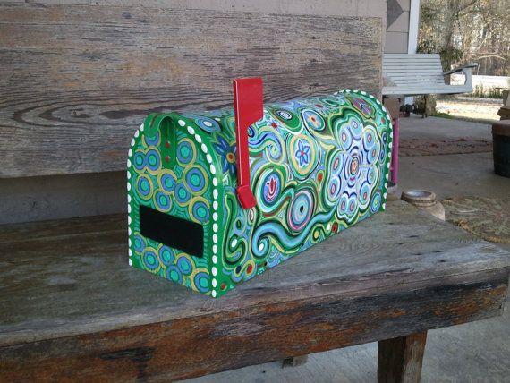 Fun Funky Painted Mailbox av mizippihippi på Etsy |  Målad.