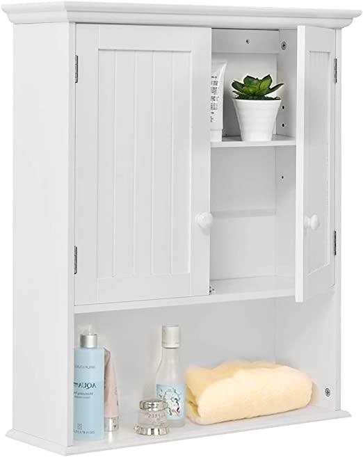 Amazon.com: TANGKULA väggmonterat badrumsskåp trämedicin.