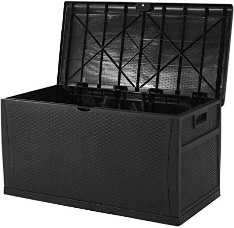 Amazon.com: Patiomore 120 Gallon Resin Wicker Patio Storage Box.