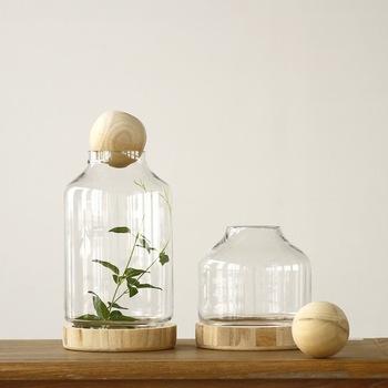 2-tums oavslutade runda kulor av trä för vas, dekorativa.