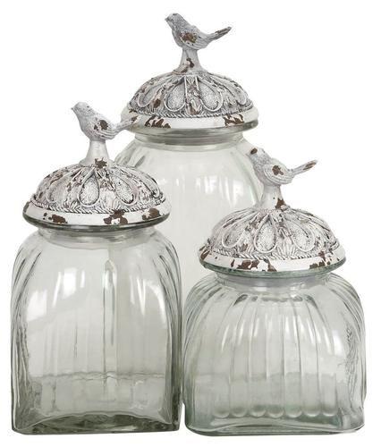 Sats med 3 dekorativa glasburkar med fågellock av polystone, klar.