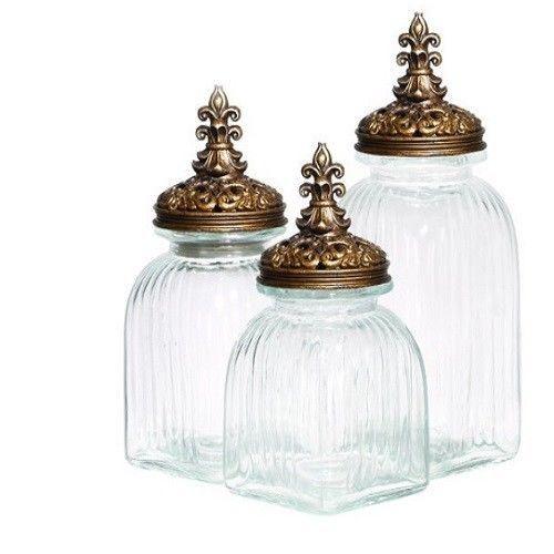 Klar glasbehållarset med guldlock 3 stycken dekorativt kök.