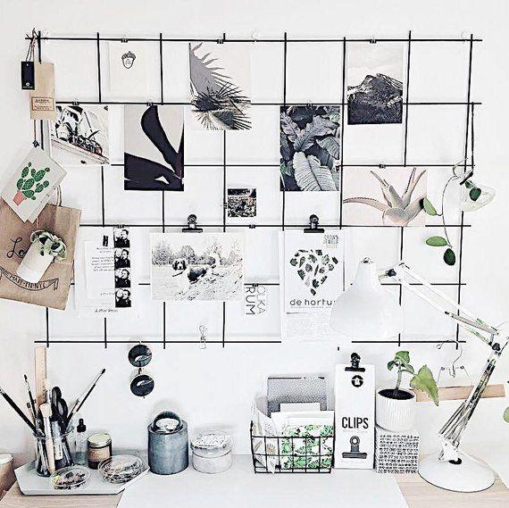 Black Wire Wall Grid + SHELF, gratis klipp, Wire Mesh Memo Board.