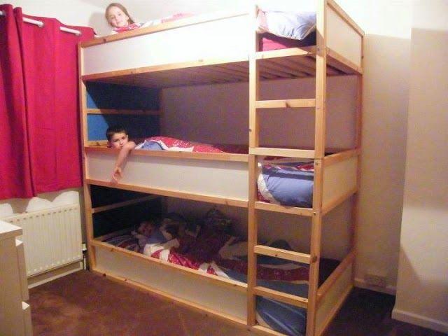 Hur man gör tre våningssängar  Trippel våningssäng ikea, barn trippel.