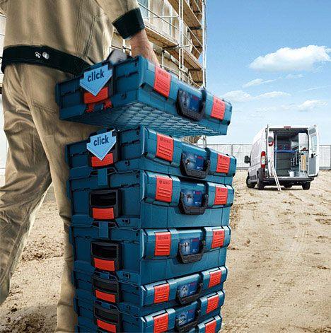 Boschs modulära bärbara verktygslagringssystem |  Stapelbar lagring.