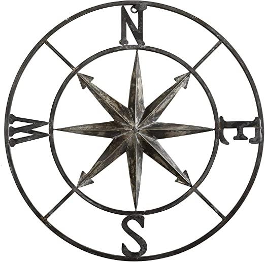 Amazon.com: Creative Co-op dekorativ rund metallkompassvägg.
