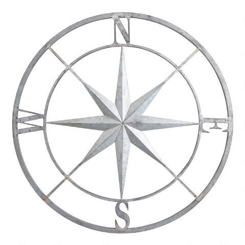 Väggdekor av galvaniserad metallkompass |  Världsmarknaden