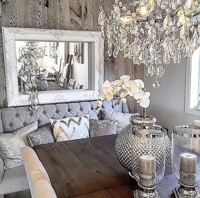 Grå rustik glam ... |  Glam vardagsrum, heminredning, vardagsrum dec