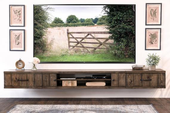 Farmhouse Rustic Wood Floating TV Stand Entertainment Center |  Et