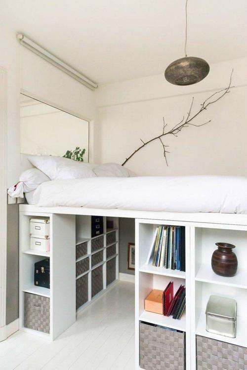 Sovrumsidéer |  Ikea loftbädd, Diy loftbädd, Bunker f