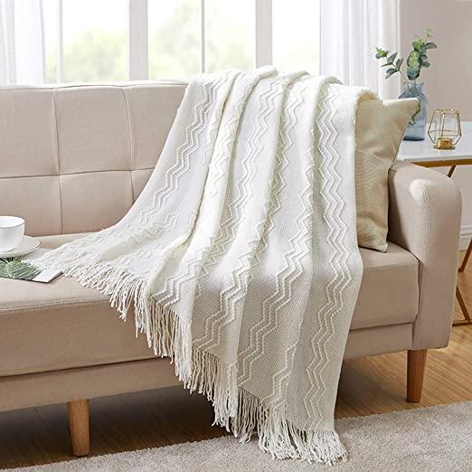 Amazon.com: BOURINA Throw Blanket Textured Solid Soft för soffa.
