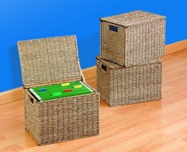 Seagrass Wire File Box med lock Organiserar dina dokument, filer.