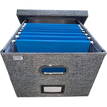 Amazon.com: Hopfällbar File Box Storage Organizer med lock.