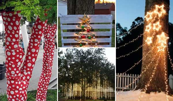 10 coola idéer för att dekorera trädgårds- eller gårdsträd till jul.