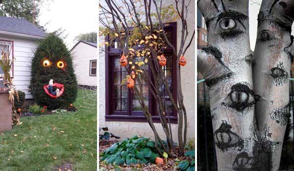 Topp 21 läskiga idéer för att dekorera träd utomhus för Halloween.